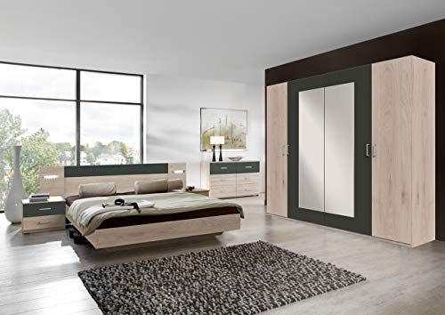 lifestyle4living Schlafzimmer Komplett Set in Eiche-Dekor und grau, 4-teilig | Modernes Komplettset mit Drehtürenschrank, Bett und Nachtschränken - Hickory-schlafzimmer-möbel