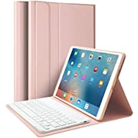 """iPad Air 10.5"""" (3rd Gen) 2019 & iPad Pro 10.5"""" 2017 Keyboard Case, Upworld Ultra-Slim Lightweight Front Support Stand PU Cover Case with Magnetically Detachable Removable Wireless Keyboard(Rose Gold)"""