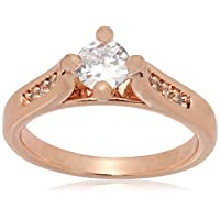 Italina Rigant 18K Rose Gold Plated Engagement Ring With Austrian Crystal Stellux Top Quality