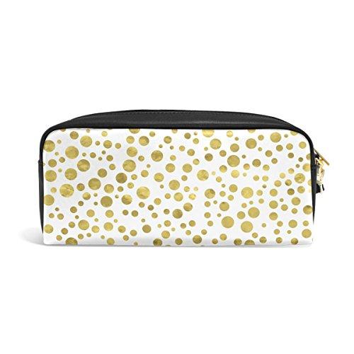 zzkko weiß und gold Polka Dots Leder Reißverschluss Federmäppchen Pen Stationäre Bag Kosmetik Make-up Bag Tasche Geldbörse