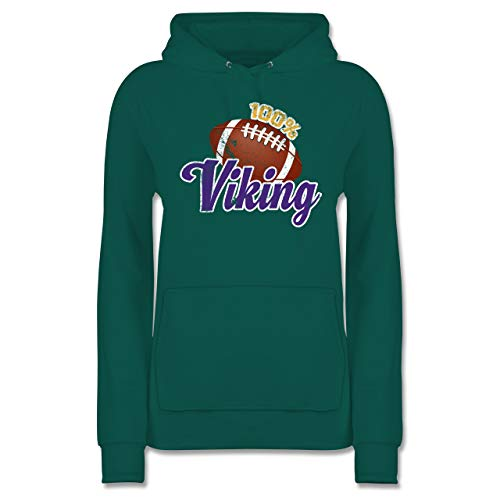 Shirtracer American Football - 100% Viking - XL - Türkis - JH001F - Damen Hoodie
