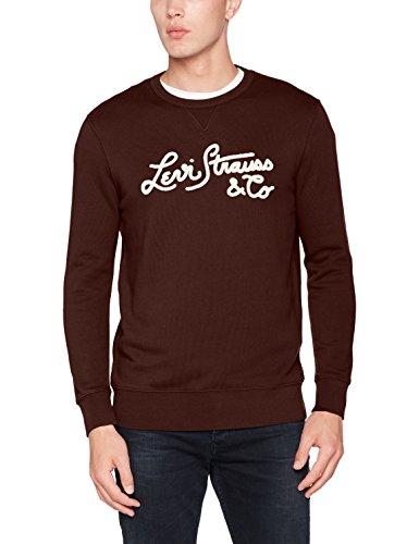 Levi's Herren, Sweatshirt, Graphic Crew B Braun (Bi Wordmark Stitch Fleece Puse 34)