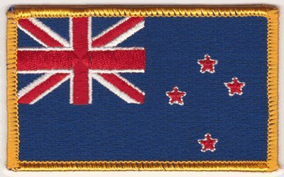 The Flag NEW ZEALAND PATCH Flicken, Superior Quality Iron-On / Saw-On Embroidered PATCH Flicken - Each one is individually carded and sealed in a professional retail package - 3.5
