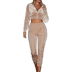 MAGIMODAC Terciopelo Chándal Conjunto Mujer Chaqueta Deportiva con Pantalon Pantalones Leggins Fitness Deporte Trajes Yoga 32 34 36 38 40 42 44 (Caqui, Etiqueta M/EU 36-38)
