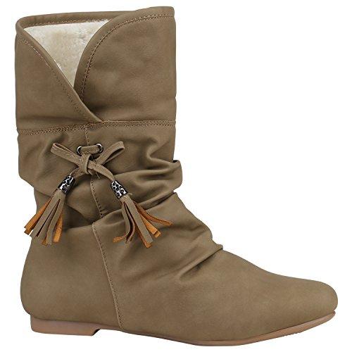 Stiefelparadies Damen Leicht Gefütterte Stiefel Schlupfstiefel Wildleder-Optik Stiefeletten Metallic Wedges Boots Keilabsatz Schuhe Flandell Khaki Quasten