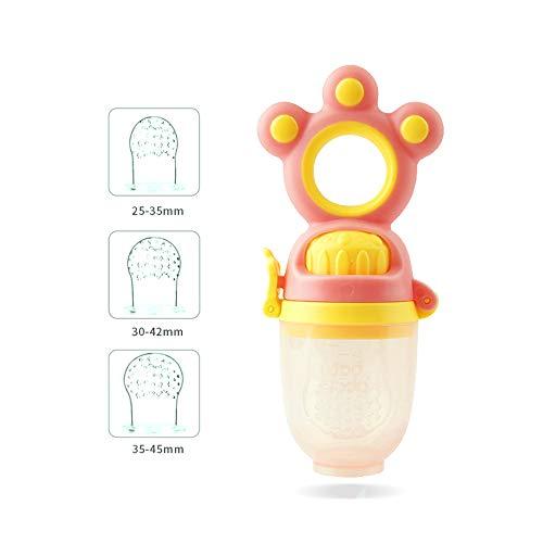 XXM Fresh Food Feeder Baby, für 3-24 Monate Baby Neugeborene Kleinkinder Entwöhnung 3 Silikon-Sac Dentitionspielzeug (BPA-frei),Rot