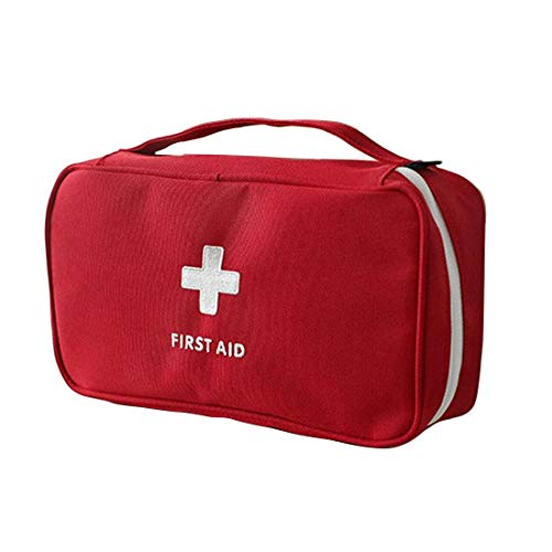 KANKOO Medizinischer Beutel Reisemedizin-Aufbewahrungstasche Inklusive Notfalldecke Hard Case und Leichtgewicht Hängende Kosmetiktaschen Mini-Erste-Hilfe-Kit red -