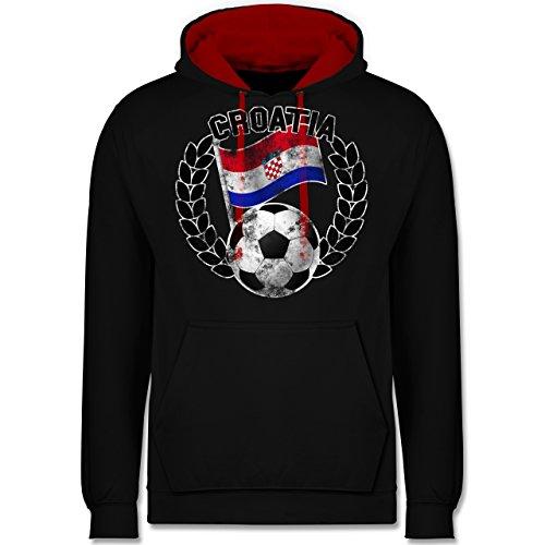 Fußball-WM 2018 - Russland - Croatia Flagge & Fußball Vintage - Kontrast Hoodie Schwarz/Rot