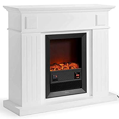 VonHaus 2000W Fireplace Suite/Electric Stove/Freestanding with Wall Surround & Realistic LED Flame Effect – 2 Heat Settings – Remote Control Included - White