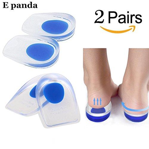 E panda 2 Pares Plantillas de Gel Silicona 100% - Transpirable Blandita Talonera Silicona con Alzas para Zapatos Hombre y Mujer