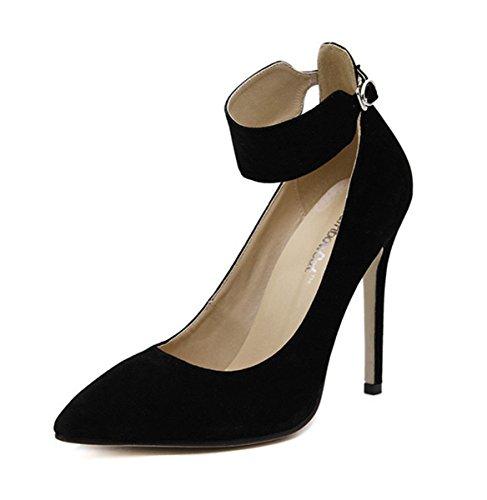 Damen Pumps High-Heel Geschlossen Spitz Zehen Nubukleder Knöchelriemchen Modisch Bequem Einfach Stiletto Schwarz