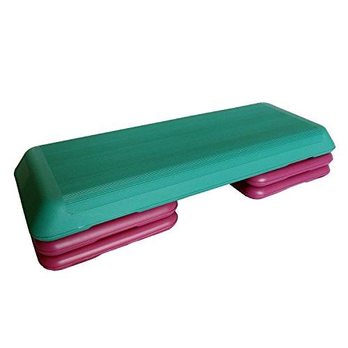 Stepper Aerobic Steppbrett Fitness Step Brett Board 3-fach verstellbar grün/lila