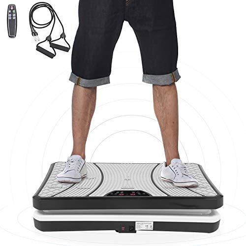 ISE Plateforme Vibrante pour Musculation et Perte de Poids, télécommande et Bandes élastiques (SY-8008BK)