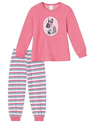 Schiesser Mädchen Zweiteiliger Schlafanzug Md lang, Gr. 98, Rot (rosa 503)