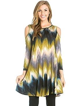 CHENGYANG Donna Manica Lunga Rotondo Coll Shirts Tunica Camicia Stampati Fiore Spalla di Dispersione