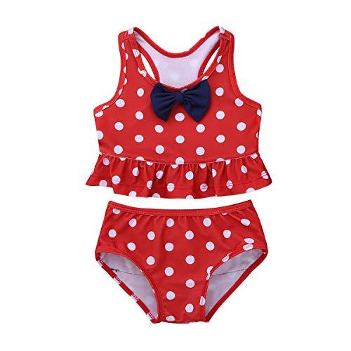 iiniim Baby Mädchen Tankini Bikini Einteiler Badeanzug Polka Dots Schwimmanzug Bademode (80-86/12-18 Monate, Rot)