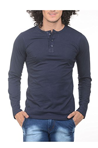 Trendy Trotters Men's Cotton T-Shirt (Ttts Henley Navy Blue - M_Medium)