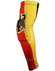 COOLOMG (1 pieza) XXS Protección de Jóvenes Adultos de compresión acolchado Baloncesto tirador de la manga del codo del brazo calentadores de la bandera de Alemania