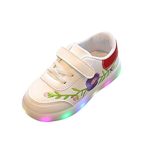 Kinderschuhe Freizeitschuhe Kinder Blumen LED Licht Schuhe Schuhe JYJM Kleinkind Kinder Sport Lauf Baby Jungen Mädchen Blume LED Leucht Schuhe Turnschuhe (Größe (CN):24, - Kinder Rote Pailletten-schuhe