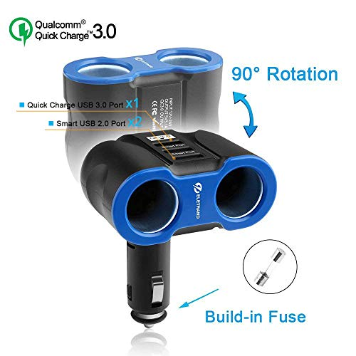 Eletrand Quick Charge 3.0 Caricabatterie da Auto, 12V/24V 2-Presa Accendisigari per Auto Adattatore con 3 Porta USB (QC 3.0 + Smart USB 2.0) per Smart Phones, Tablets, GPS et
