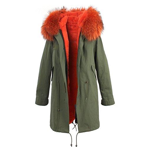 PARKA XXL Kragen aus 100% ECHTPELZ ECHTFELL Jacke Mantel Khaki 8 Farben Oranger Pelz
