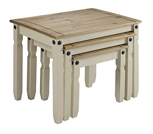 mercers furniture Corona-Juego de mesas encajables, Madera Pintada, Color Crema/Cera Envejecida
