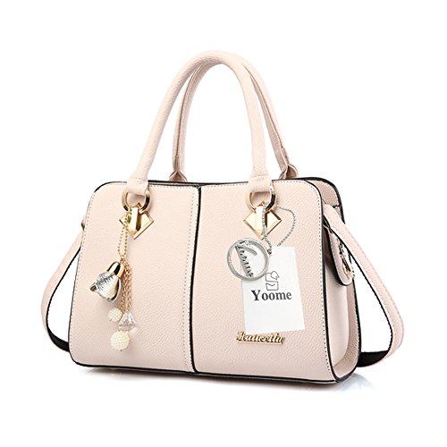 Yoome Hardware Ciondolo Lichee Top Pattern Handle Satchel Per Donna Borsa Elegante Borse Donna - L.Purple bianca