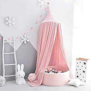 Tyhbelle Baby Baldachin Betthimmel Kinder Babys Bett Baumwolle Hängende Moskiton für Schlafzimmer Ankleidezimmer Spiel Lesen Zeit Höhe 230 cm Saumlänge 270cm (Pink)