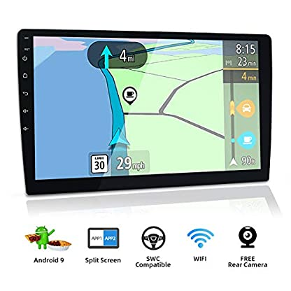 101-Zoll-257-cm-Android-90-Doppel-Din-Autoradio-Universal-Audio-Rckfahrkamera-untersttzt-Navigationsgert-Bluetooth-GPS-DAB-WiFi-OBD2-4G-Lenkrad-1080P-Videospiegel-Carplay-USB