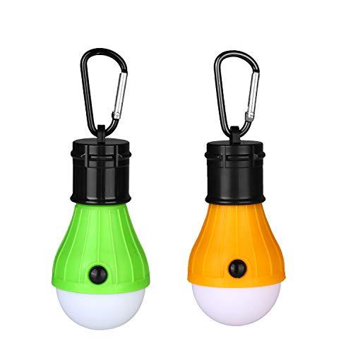 Yizhet LED Campinglampe Zeltlampe Glühbirne Set-Notlicht mit Karabiner Wasserdicht Tragbare Zeltlampe Glühbirne Set für Camping/Abenteuer/Angeln/Garage/Notfall/Stromausfall(2 Stücke,Orange+Grün)