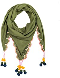 Chumbak Women's Polyester Scalloping Edges Square Scarf (8907605057571; Olive; Free Size)