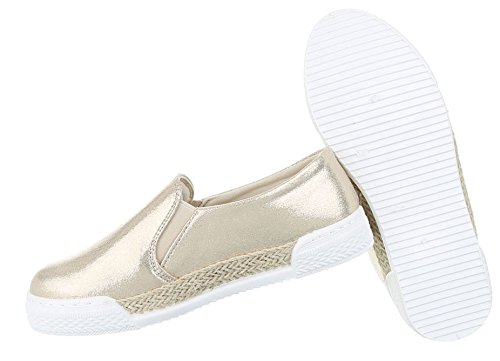 Damen Halbschuhe Schuhe Slipper Loafer Mokassins Flats Slip On Rosa Pink Schwarz Gold Silber 36 37 38 39 40 41 Gold