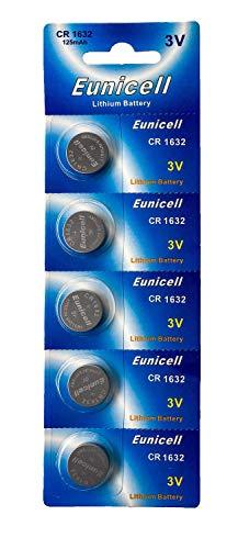 5 x CR1632 3 V Lithium Knopfzellen 120 mAh (1 Blistercard a 5 Batterien) EINWEG Markenware Eunicell
