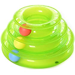 MissFox Juguetes Interactivo Mascotas - Torre de Pistas con Bolas - Juguete de Atracciones Plate Trilaminar Bola (Verde)