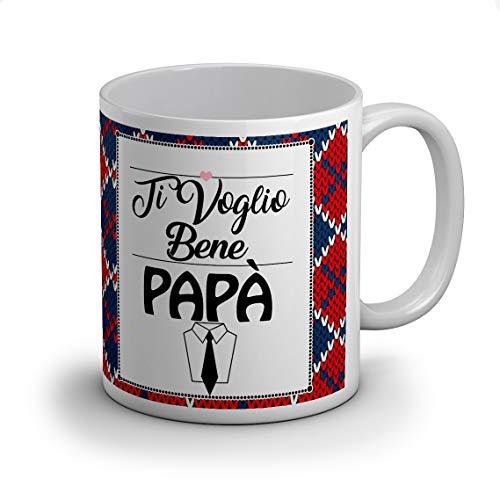 Idea regalo tazza tazze festa del papà, (ti voglio bene papà) per compleanno o qualche altra occasione con frase dedica e disegno