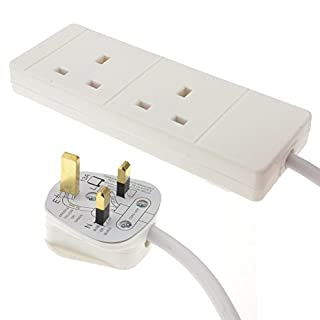 kenable 2 Gang Way UK 13A Trailing Socket Mains Power Extension Lead White 15m