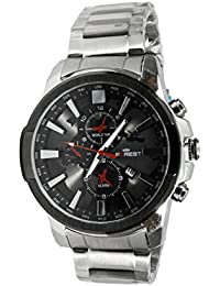 Forest Analogue black round dial watch with stainless steel strap