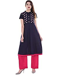 Palakh Women's Cotton Blue A-line Embroidered Kurti With Solid Rani Palazzo