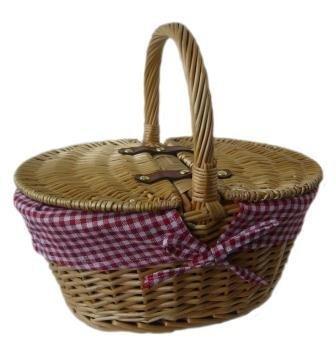 Kinder Weiden Picknick Korb oval - gefüttert