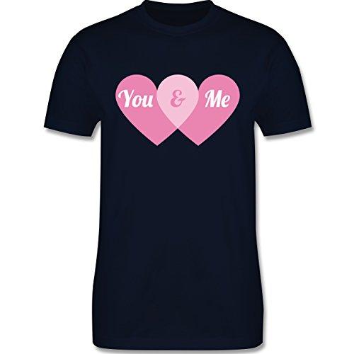 Romantisch - You & Me Herzen - Herren Premium T-Shirt Navy Blau