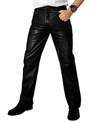 Fuente 501 Pantalon En Cuir pour homme noir casual, Size: W34/L36