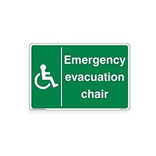 Notfall Evakuation Stuhl-Schild - Standard-Aufkleber, selbstklebende Vinyl-Warnaufkleber, für den Arbeitsplatz für Büro, Zuhause, 200 mm x 300 mm