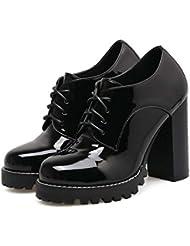 Shenn Mujer Tobillo Alto Hebilla Clásicos Blanco Cuero Entrenadores Zapatos EU35.5 hUAAi
