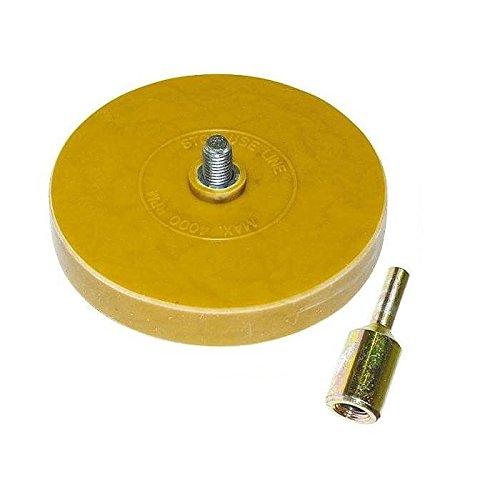 Folienradierer inkl. Adapter - Für alle handelsübliche Bohrmaschinen, Akku-Schrauber, Geradschleifer geeignet - Zierfolien, Aufkleber und Kleberückstände entfernen