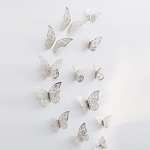 Gaddrt 12 Stk. 3D Hollow Wall Aufkleber Schmetterling Kühlschrank Magnet Spiegel Wand Kunst DIY Wand-Aufkleber für Wohnzimmer moderne Hintergrund TV-Decor, Schlafzimmer oder Küche Home Dekoration,F
