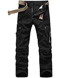 Tangda Pantalon Homme Coton Casual Militaire de L'armée Cargo Camo Pantalons Combat de Travail avec ceinture hasard en dispose comme cadeau