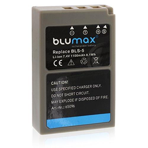 Blumax Akku für Olympus BLS-5 / BLS-50 / BLS5 | 1100mAh | kompatibel mit Olympus Stylus 1 1s PEN E-PL2 E-PL3 E-PL5 E-PL6 E-PL7 E-P3 E-PM1 E-PM2 -- OMD E-M10 und E-M10 Mark II