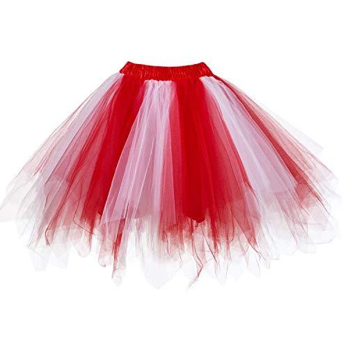 Kostüm Plus Erwachsene Rot Für - DresseverBrand Damen Petticoat 50er Rockabilly Jahre Retro Tutu Ballet Tüllrock Cosplay Crinoline Rot-weiß Large/X-Large