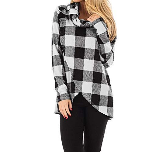 Pullover Womens Herbst Winter Fashion Klassisch Plaid Neck Wrap Cowl Party Stil Style Sweatshirt Bluse Elegant Vintage Locker Casual Top Shirt (Color : Grau, Size : L)