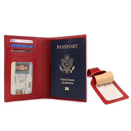 OTTO - Porta pasaporte de cuero - Bloqueo de RFID - Unisex (Rojo)